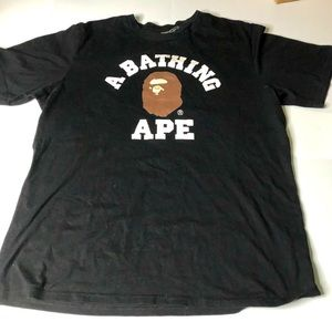Bape Men Size Large Black College Tee T-Shirt